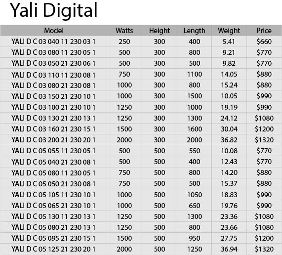 YALI Price List